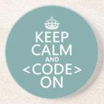 Guarde la calma y <Code> En - todos los colores Posavasos Manualidades