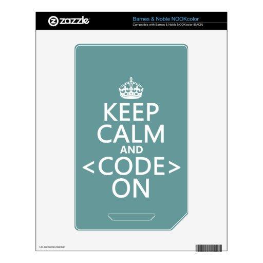 Guarde la calma y <Code> En - todos los colores Calcomanías Para NOOK Color
