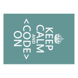 Guarde la calma y <Code> En - todos los colores Tarjetas De Visita Grandes