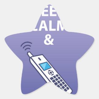 Guarde la calma y coja el vector del teléfono pegatina en forma de estrella