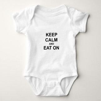 Guarde la calma y coma en gris azul negro body para bebé