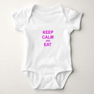 Guarde la calma y coma en rosado anaranjado body para bebé