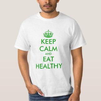 Guarde la calma y coma la camiseta sana de la remeras