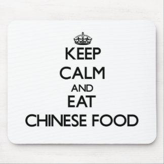 Guarde la calma y coma la comida china alfombrillas de ratones