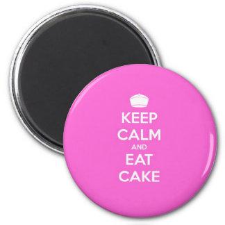 Guarde la calma y coma la torta imán redondo 5 cm