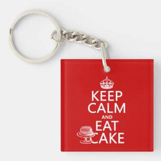 Guarde la calma y coma la torta (los colores del llavero cuadrado acrílico a una cara