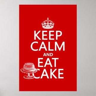 Guarde la calma y coma la torta (los colores del p poster