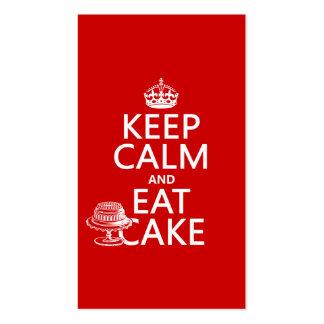 Guarde la calma y coma la torta (los colores del p tarjeta de negocio