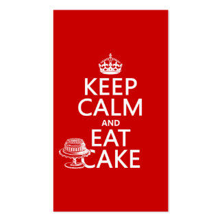 Guarde la calma y coma la torta (los colores del p tarjetas de visita