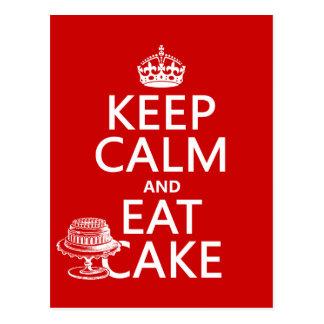 Guarde la calma y coma la torta (los colores del postales