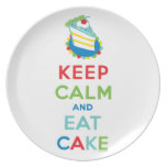 Guarde la calma y coma la torta plato de cena