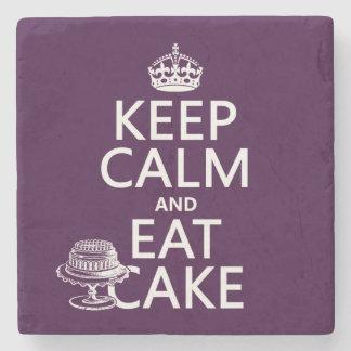 Guarde la calma y coma la torta posavasos de piedra