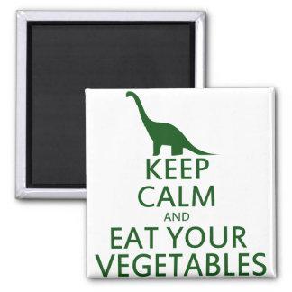 Guarde la calma y coma sus verduras imán cuadrado