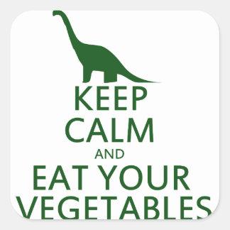 Guarde la calma y coma sus verduras pegatina cuadrada