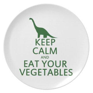 Guarde la calma y coma sus verduras plato de cena