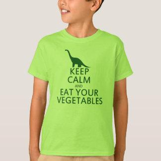 Guarde la calma y coma sus verduras playera
