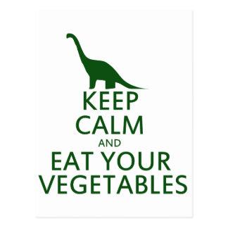 Guarde la calma y coma sus verduras postal