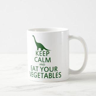 Guarde la calma y coma sus verduras tazas