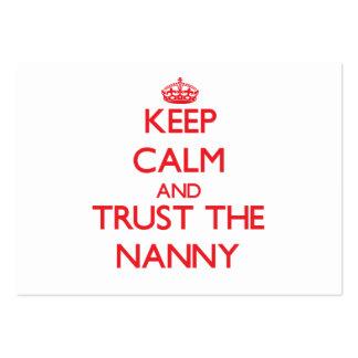 Guarde la calma y confíe en a la niñera tarjetas de visita