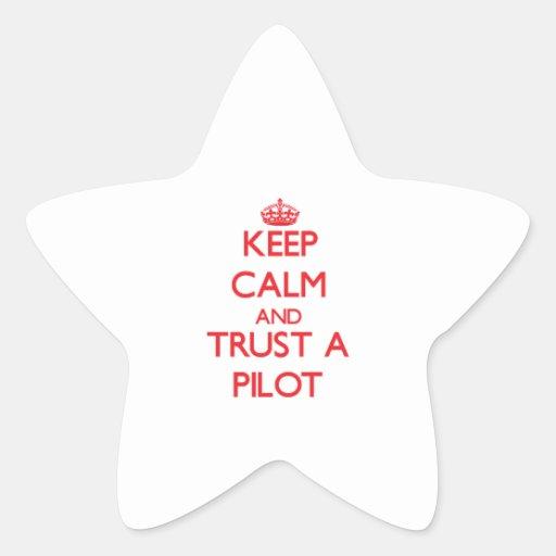 Guarde la calma y confíe en a calcomanía forma de estrella