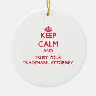 Guarde la calma y confíe en a su abogado de la adorno navideño redondo de cerámica