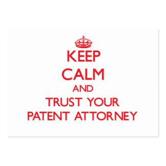 Guarde la calma y confíe en a su abogado de patent tarjeta de visita