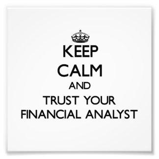 Guarde la calma y confíe en a su analista financie cojinete