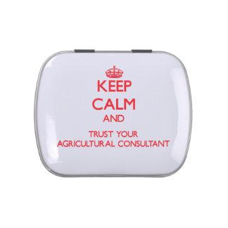 Guarde la calma y confíe en a su asesor agrícola frascos de dulces