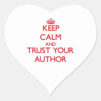 Guarde la calma y confíe en a su autor pegatinas corazon
