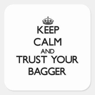 Guarde la calma y confíe en a su Bagger Calcomanía Cuadradas Personalizadas