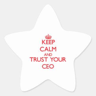 Guarde la calma y confíe en a su CEO Calcomanía Forma De Estrella Personalizada