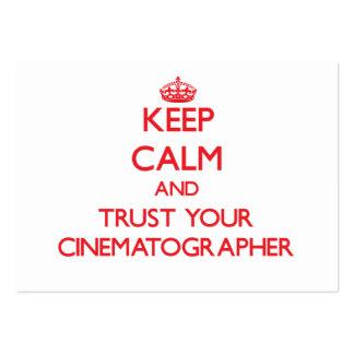 Guarde la calma y confíe en a su cinematógrafo tarjetas de negocios