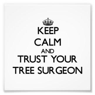 Guarde la calma y confíe en a su cirujano de árbol fotografia