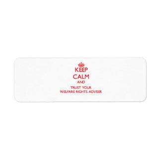 Guarde la calma y confíe en a su consejero de las  etiquetas de remite