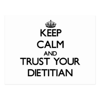 Guarde la calma y confíe en a su dietético postales