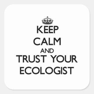 Guarde la calma y confíe en a su ecologista pegatina cuadrada