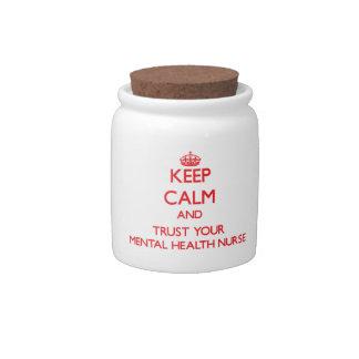 Guarde la calma y confíe en a su enfermera de salu jarra para caramelo