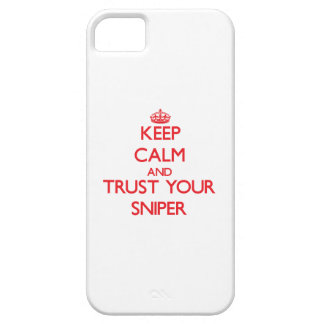 Guarde la calma y confíe en a su francotirador iPhone 5 Case-Mate coberturas
