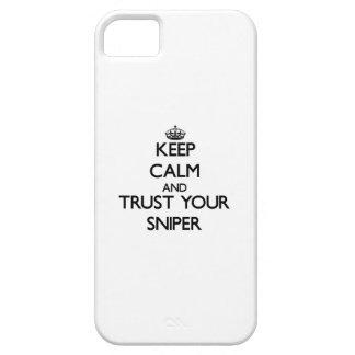 Guarde la calma y confíe en a su francotirador iPhone 5 funda