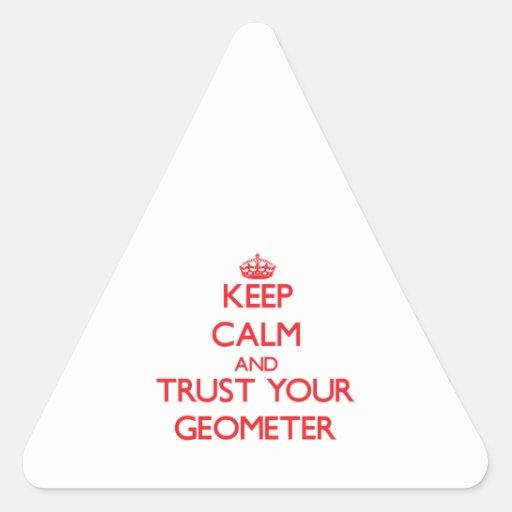 Guarde la calma y confíe en a su geómetra calcomanía de triangulo personalizadas