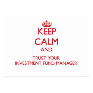 Guarde la calma y confíe en a su gestor de fondos  tarjeta de negocio