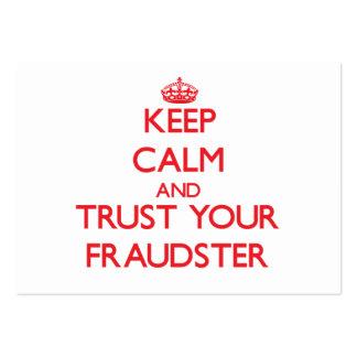 Guarde la calma y confíe en a su impostor tarjetas de visita grandes