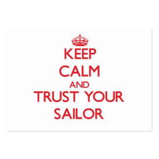 Guarde la calma y confíe en a su marinero tarjetas de visita grandes