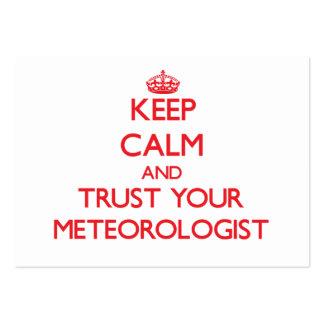Guarde la calma y confíe en a su meteorólogo plantillas de tarjetas de visita