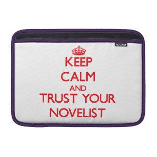 Guarde la calma y confíe en a su novelista fundas para macbook air