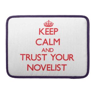 Guarde la calma y confíe en a su novelista funda para macbook pro