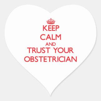Guarde la calma y confíe en a su obstétrico pegatina corazón