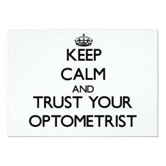 Guarde la calma y confíe en a su optometrista invitacion personal