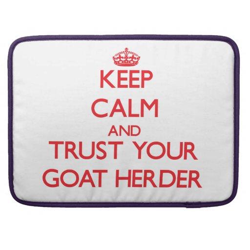 Guarde la calma y confíe en a su pastor de la cabr fundas macbook pro