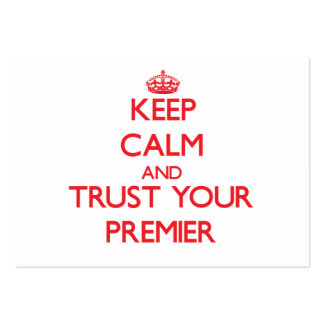 Guarde la calma y confíe en a su primero ministro tarjetas de visita grandes